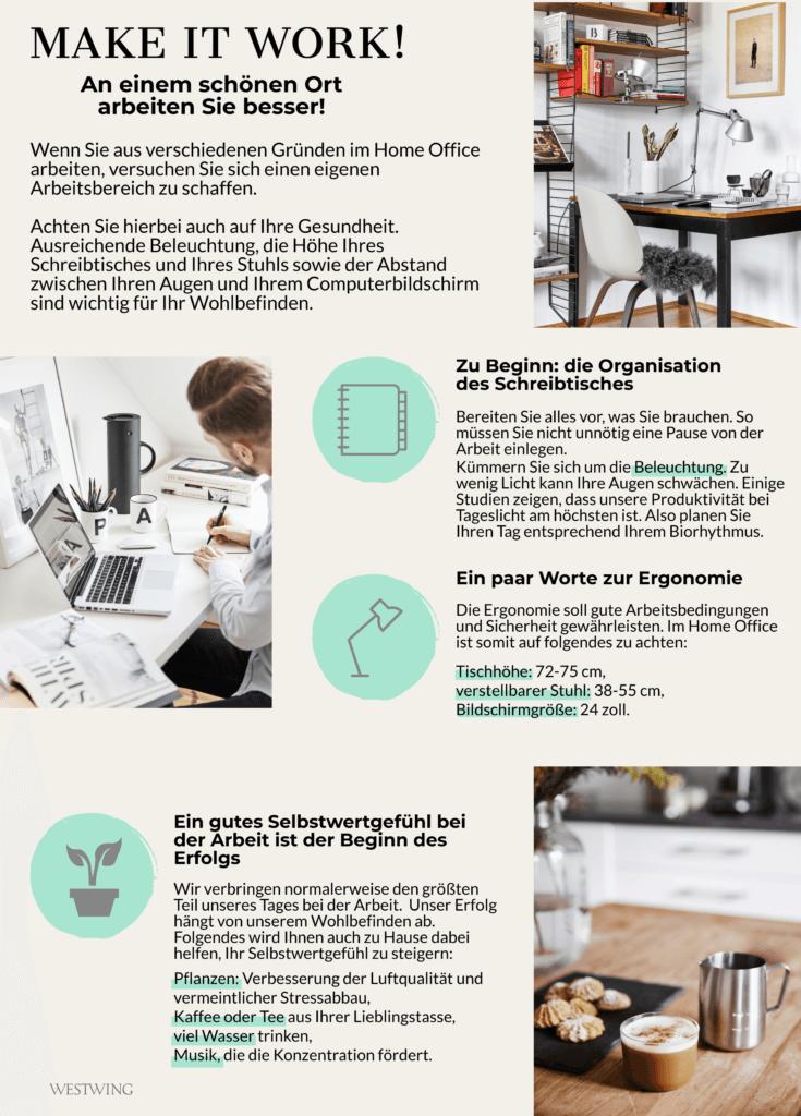 Home-Office einrichten Tipps Schreibtisch Ergonomie Selbstwertgefühl