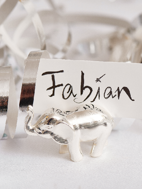 Jugendweihe Deko Tischkarte Fabian mit Elefant
