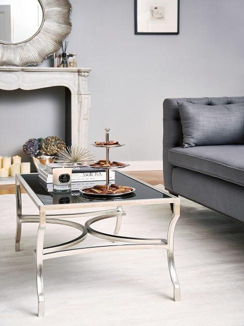 Verspiegelte Möbel Couchtisch mit Deko
