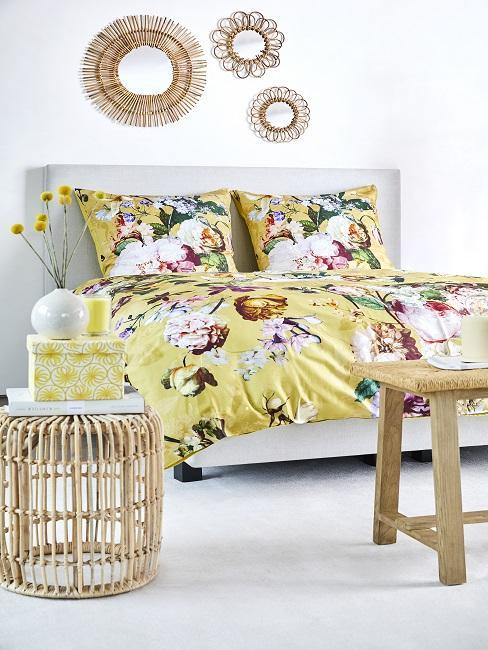 Boho Schlafzimmer gelbe Blumen-Bettwäsche