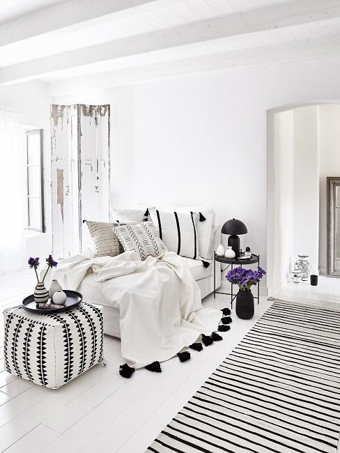 Boho Schlafzimmer schwarz-weißer Mustermix