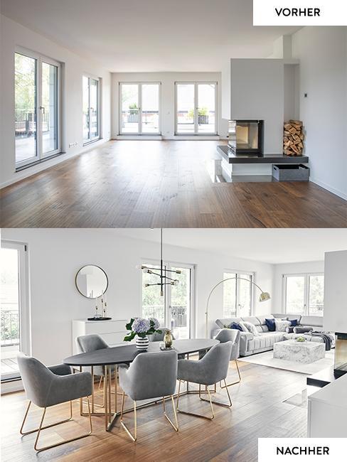 Vorher Nachher Bild des Wohnzimmers von Team Harrison im Vergleich: Das Vorher Bild zeigt die noch leeren Räume, das Nachher Bild Denn großzügigen Raum mit Essplatz und großer Sofaecke
