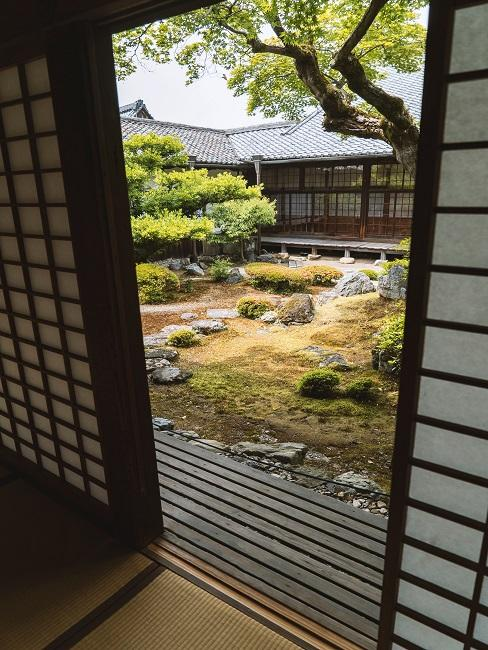 Japanischen Garten anlegen mit Steinen und Moos aus der Tür heraus fotografiert