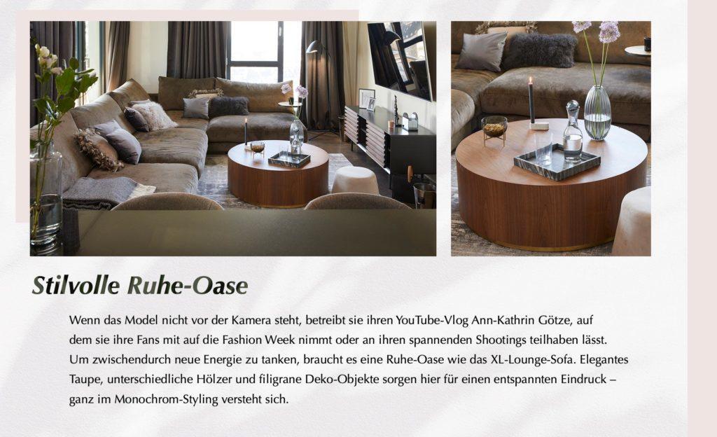 Ann-Kathrin Götze Sofaecke Wohnzimmer Sofa Couchtisch