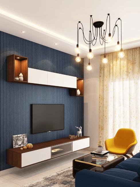 Salorro moderno blu e giallo con lampadario