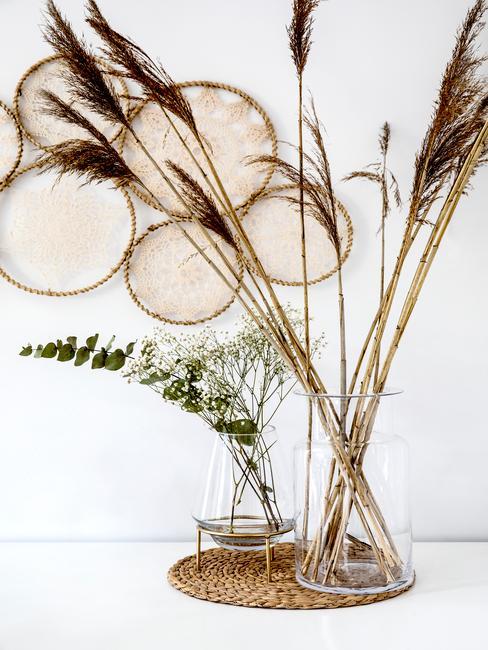 Dwa szklane wazony w jasnym pomieszczeniu z trawą pampasową oraz dekoracje ścienne