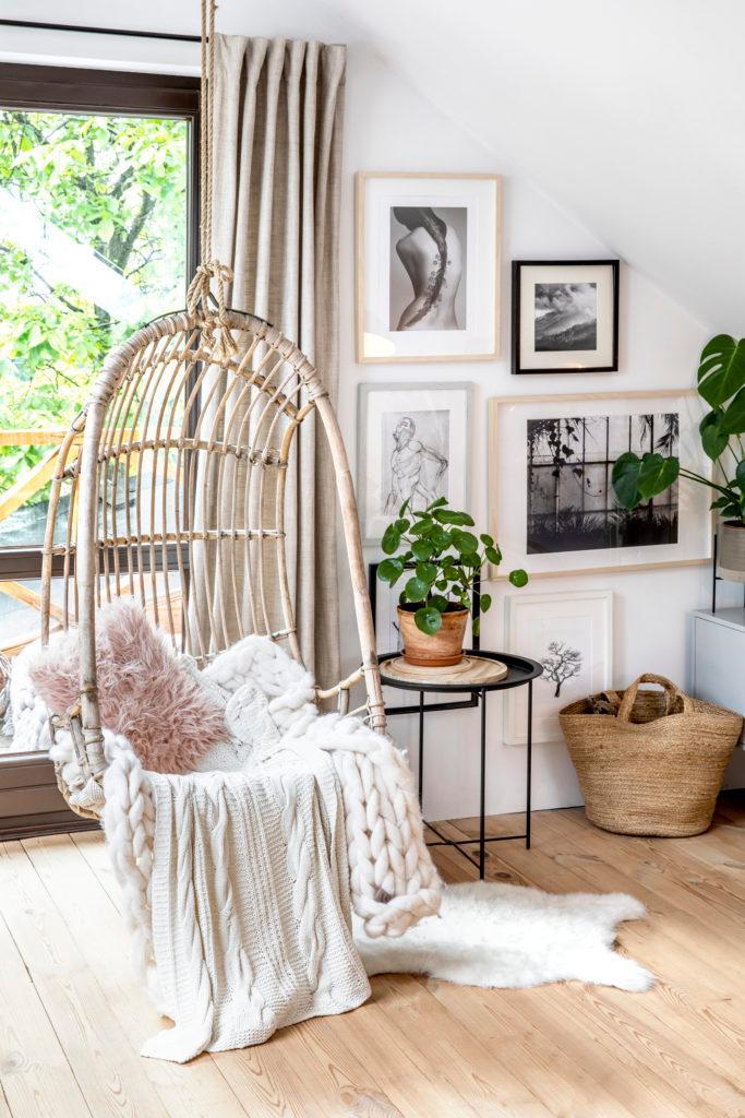 Kącik do relaksu w domu z roślinami