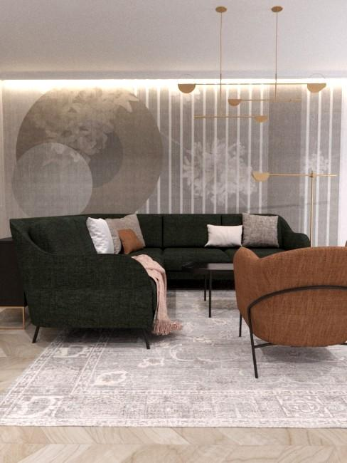 Salon urządzony w nowowczesnym stylu. Dominuje ciemna sofa, na jasnym dywanie