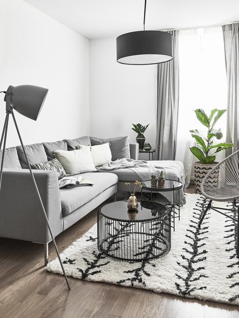 Salon w stylu skandynawskim z szarą kanapą, stolikiem kawowym, dywanem oraz rośliną przy oknie