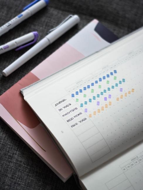 Otwarty notes z wypisanymi nawykami, które osoba stara się wdrożyć