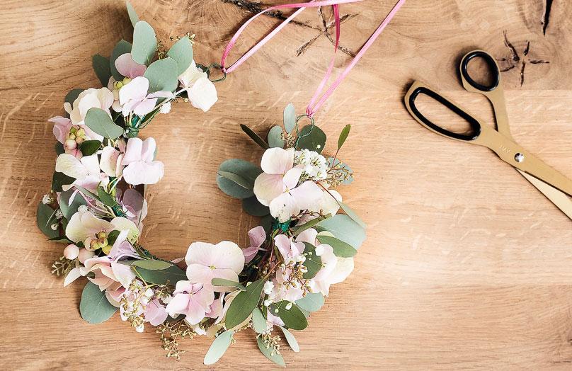 Corona de flores DIY