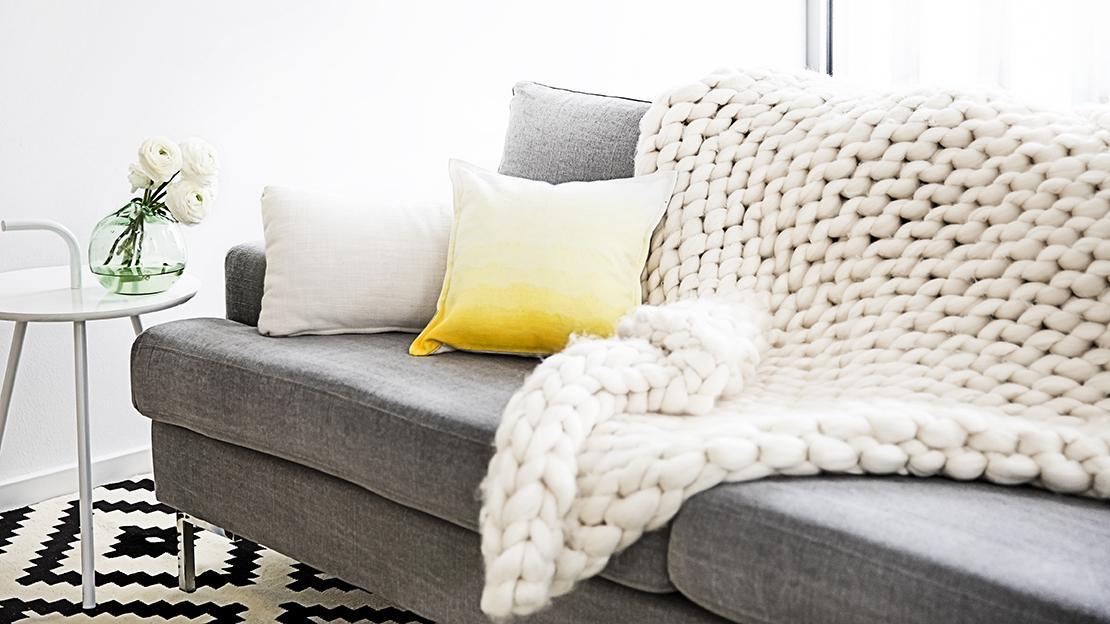 tecnica ombré cuscino colorato