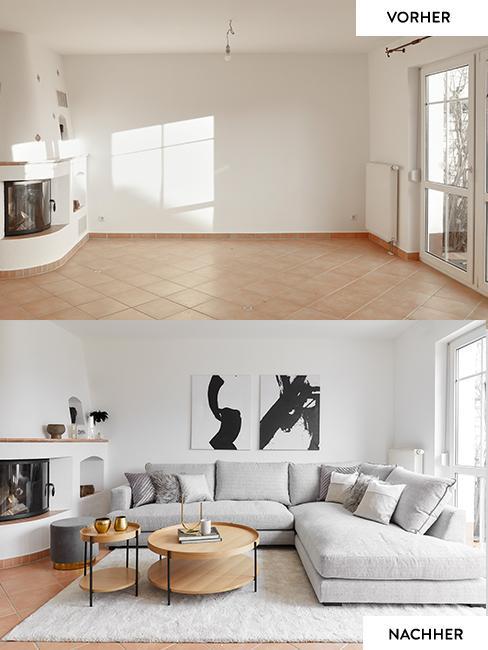 Das Wohnzimmer von Motsi Mabuse im Vorher Nachher Vergleich: Oben das leere Wohnzimmer vor dem Umstyling, unten der gemütliche Raum mit großem Ecksofa neben dem Kamin, Teppich, Kissen und Deko