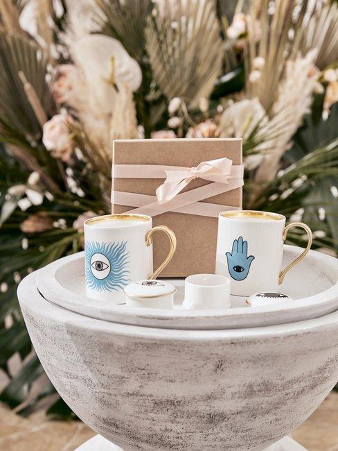 Heading bruiloft cadeaus set mokken voor decoratie