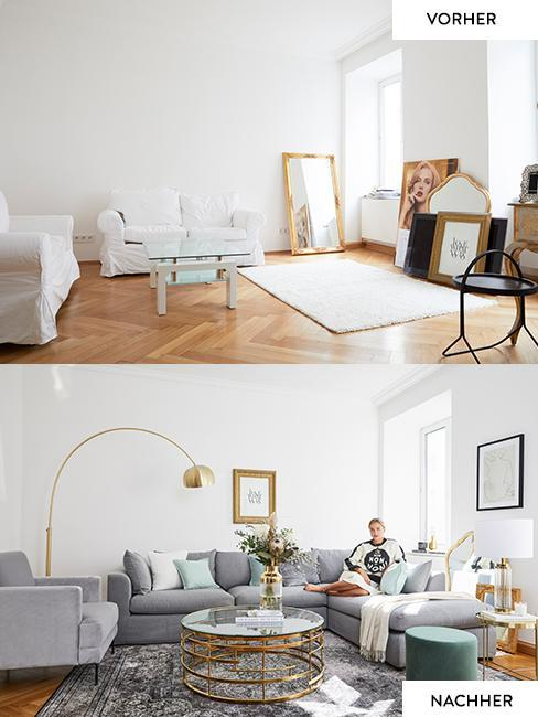 Vorher Nacher Bild des Wohnzimmers von Nina Süß