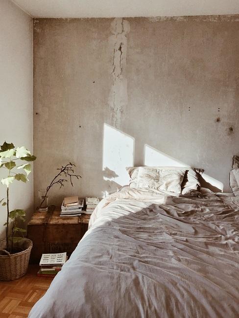 Temperatur Schlafzimmer: Zimmer in beige mit Bett, Tisch und Pflanze