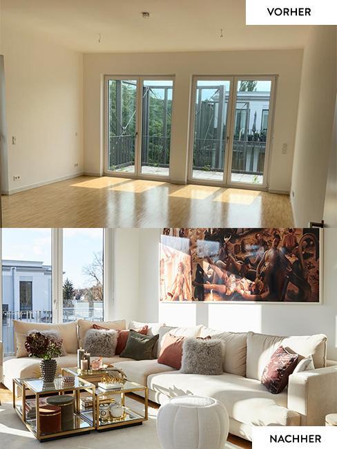 Das Wohnzimmer von Novalanalove im Vorher Nachher Vergleich: Vorher leere Räume, nachher mit hellem großem Ecksofa und elegantem Couchtisch aus Glas und Metall in Gold