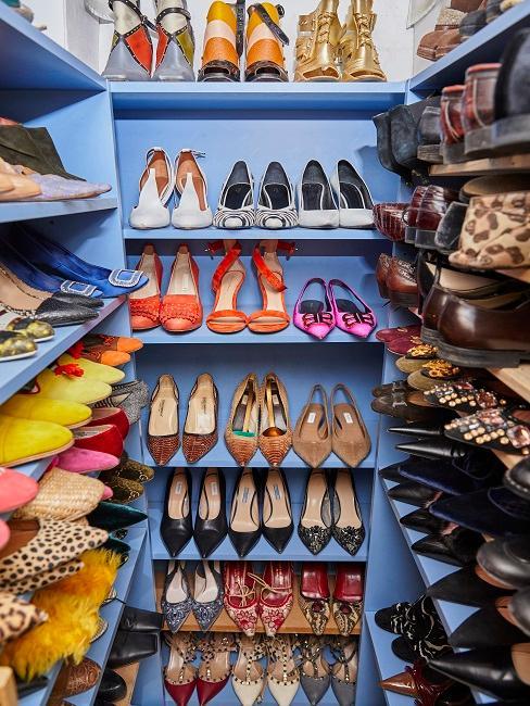Estanteria azul con zapatos