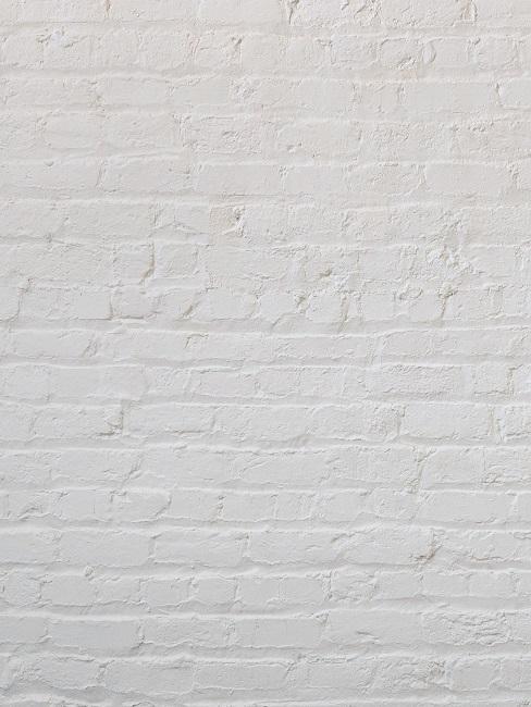 Eine weiße Ziegelwand in einer Detailaufnahme.