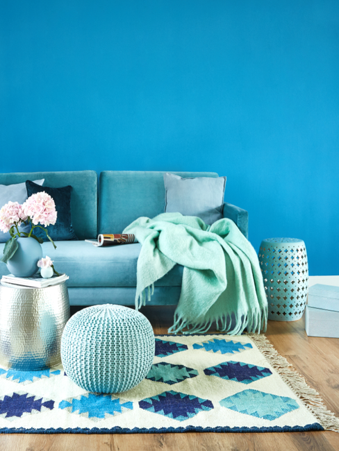 Blauwe woonkamer