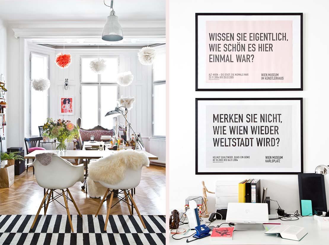eklektický styl pracovna ve skandinávském stylu