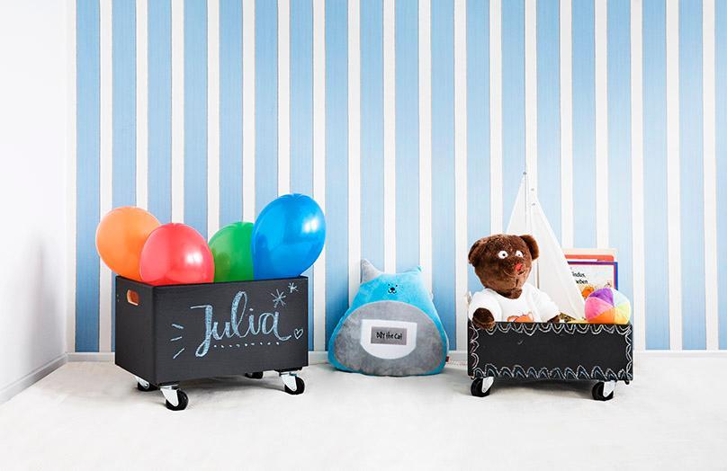 Caja de pizarra para pintar y guardar juguetes