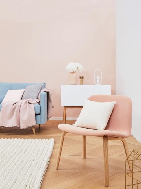 Salotto in rosa e azzurro pastello