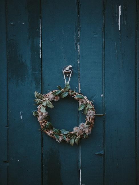 Door wreath on blue door