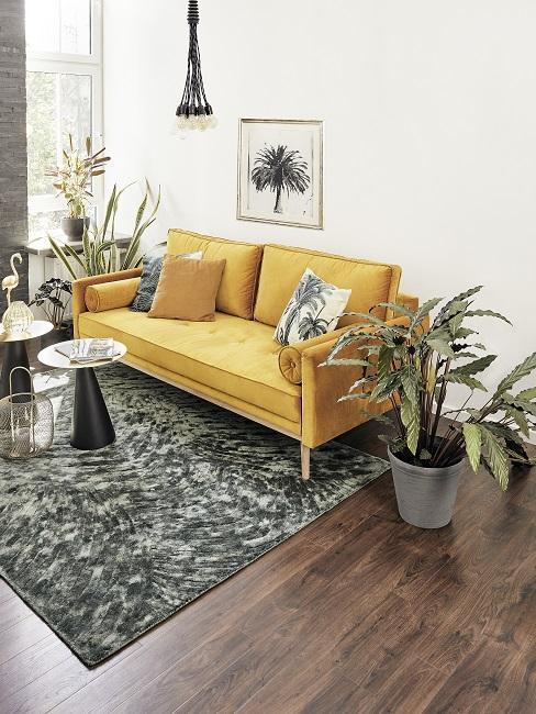 Pflegeleichte Zimmerpflanzen im Wohnzimmer neben gelben Sofa