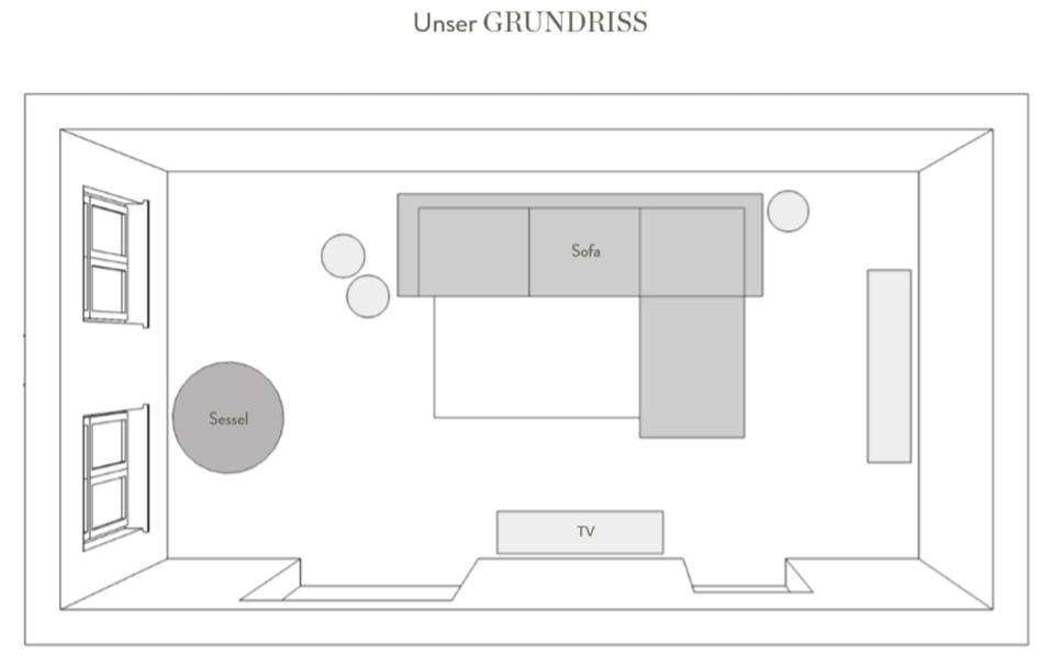 Wohnzimmer einrichten Grundriss