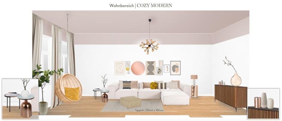Wohnzimmer neu gestalten Vorschlag 1 Hängesessel