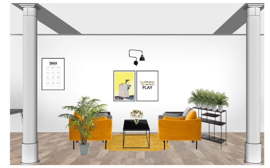 Büro einrcihten gemeinsame Zone Sessel