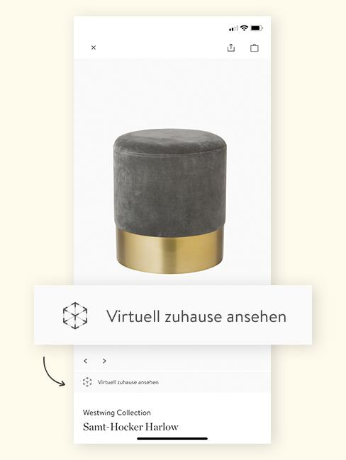 Augmented Reality Pouf in App