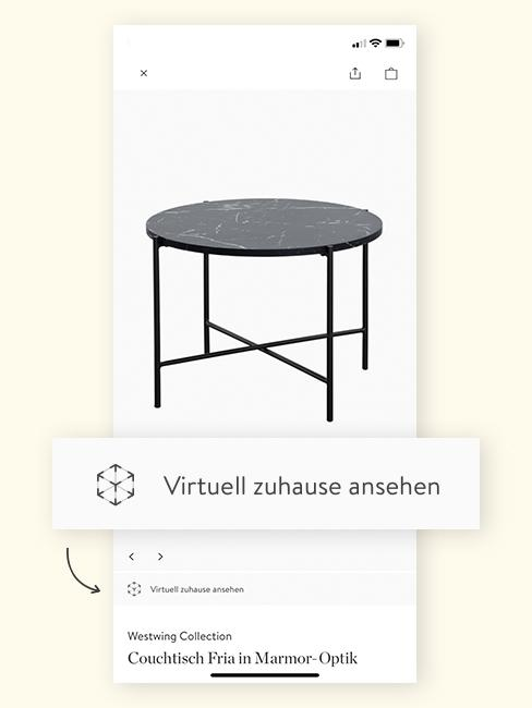 Augmented Reality Couchtisch in App