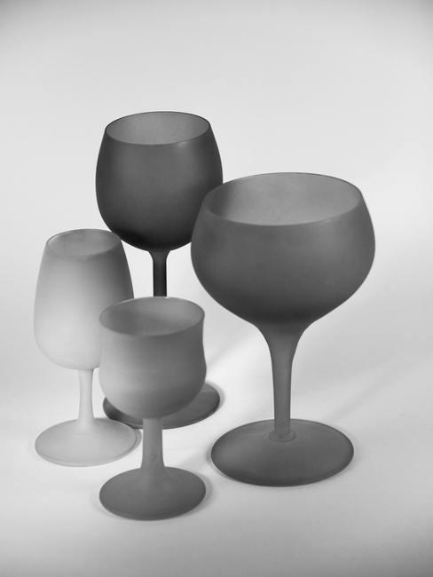 Copas de vino con vidrio esmerilado