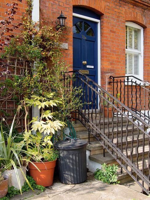 façade de maison de ville porte bleue et plantes