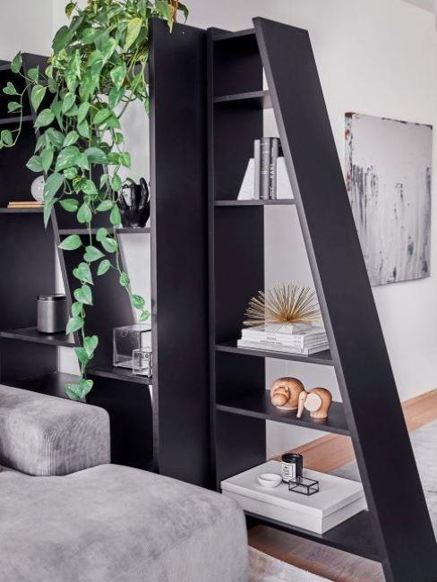 parete attrezzata: libreria nera con piante e oggetti decorativi