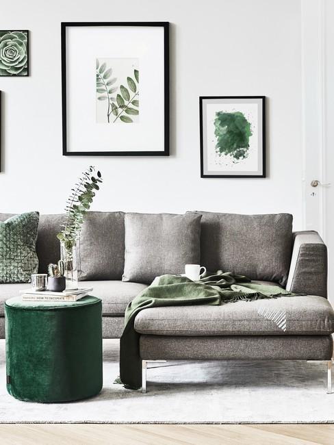 Salon z szarymi meblami oraz zielonymi dekoracjami