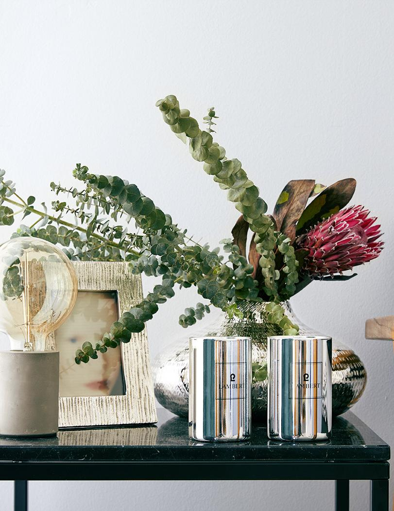 Kwiat protei oraz eukaliptusa w srebrnym wazonie na stoliku kawowym