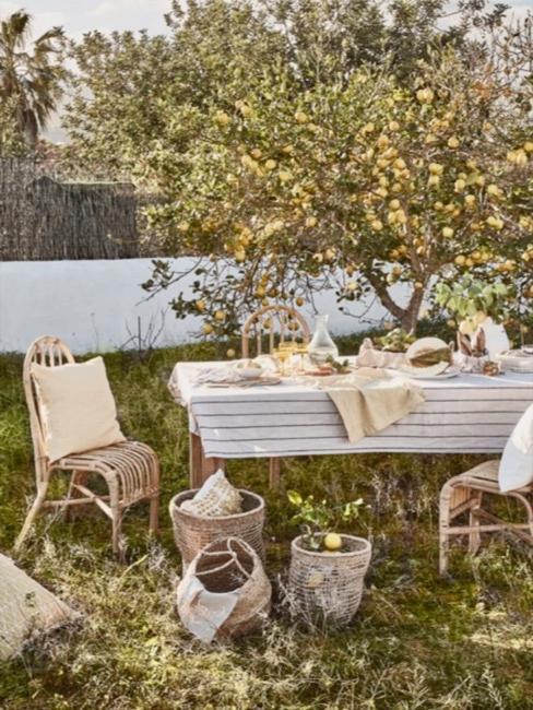 Jardin de ville avec un arbre sous lequel se trouve une table dressée de manière rustique, une chaise, des paniers, coussins dans l'herbe