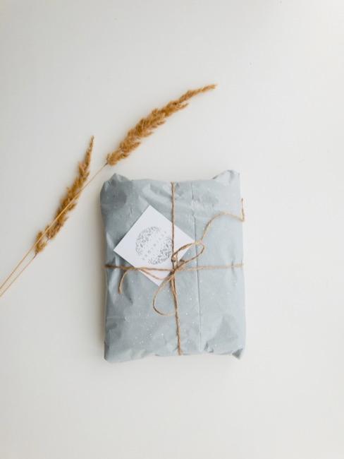 regalo envuelto en papel azul, con decoración delicada y una cuerda