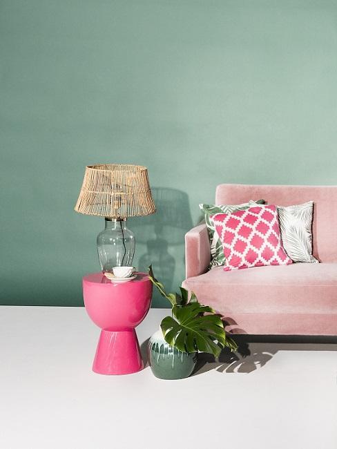 Farbkombinationen Wohnzimmer in Pink und Grün