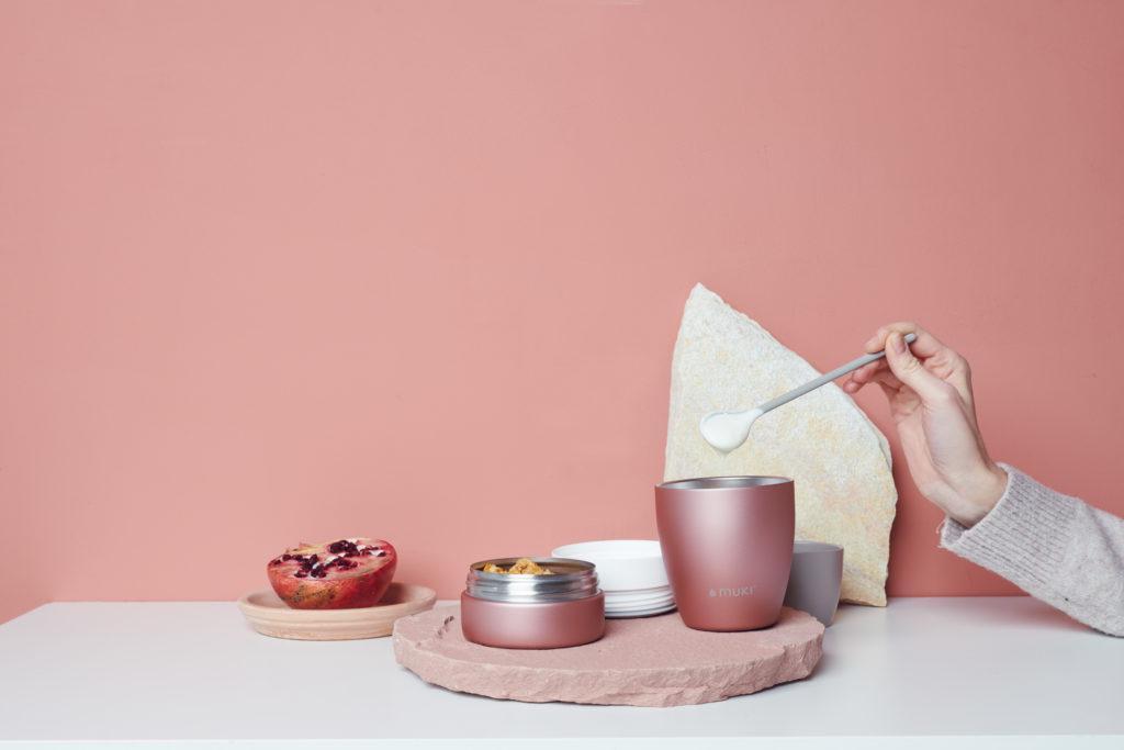 FLSK muki Pot in Rosa mit Löffel