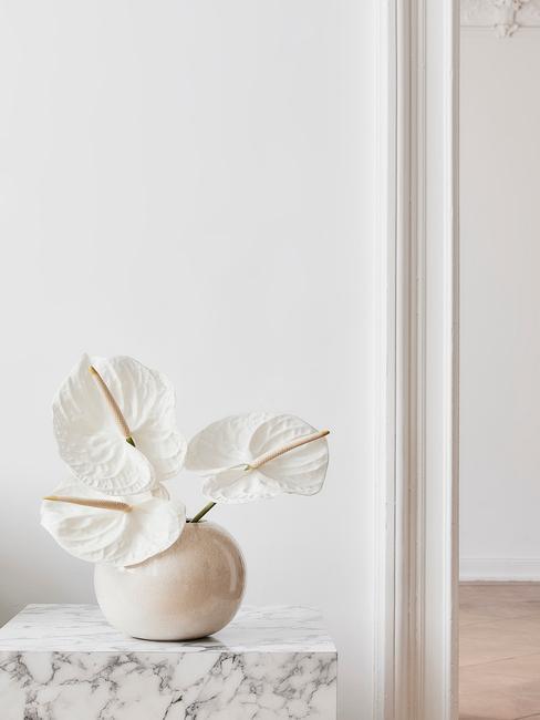 Mesilla de mármol blanco con jarrón con flores blancas