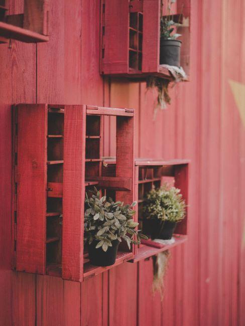 supporto da muro in pallet per piante