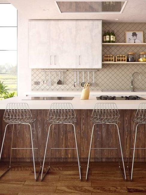 cucina moderna bianca e legno con isola e sgabelli in metallo