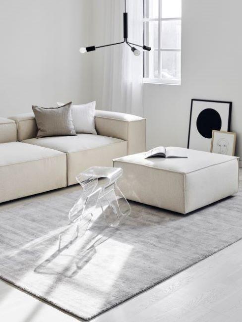 soggiorno grigio e bianco
