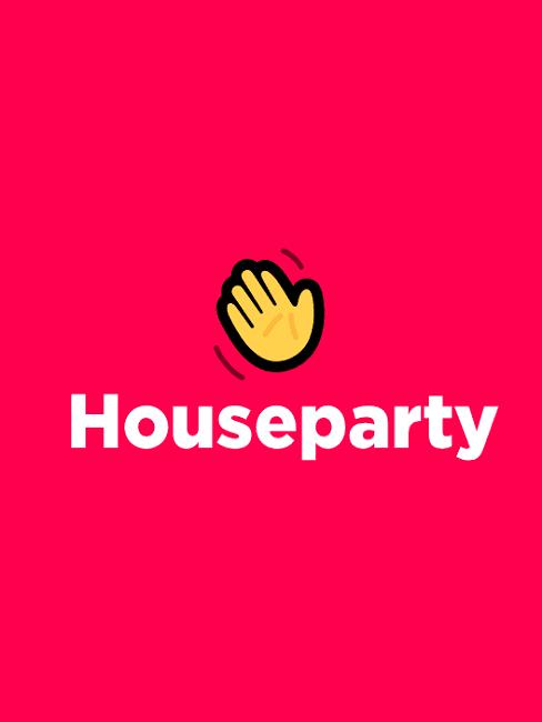 Logo aplikacji Houseparty: czerwone tło z machającą emotką ręki