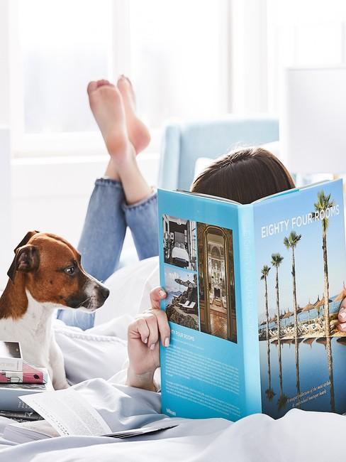 Dziewczyna leżąca na łóżko obok psa i czytająca książkę o podróżowaniu