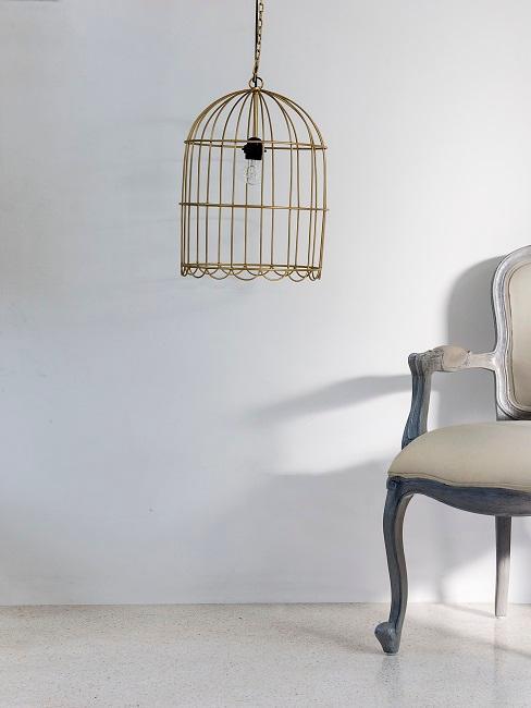Vogelkäfig-Deko als Lampenschirm